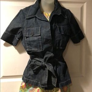 Lucky Brand denim wrap self belted shirt jacket M
